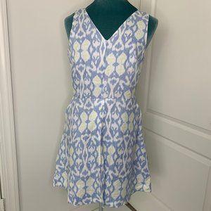 Gap Dress 16 Sleeveless Linen Blue Ikat NWT Pocket